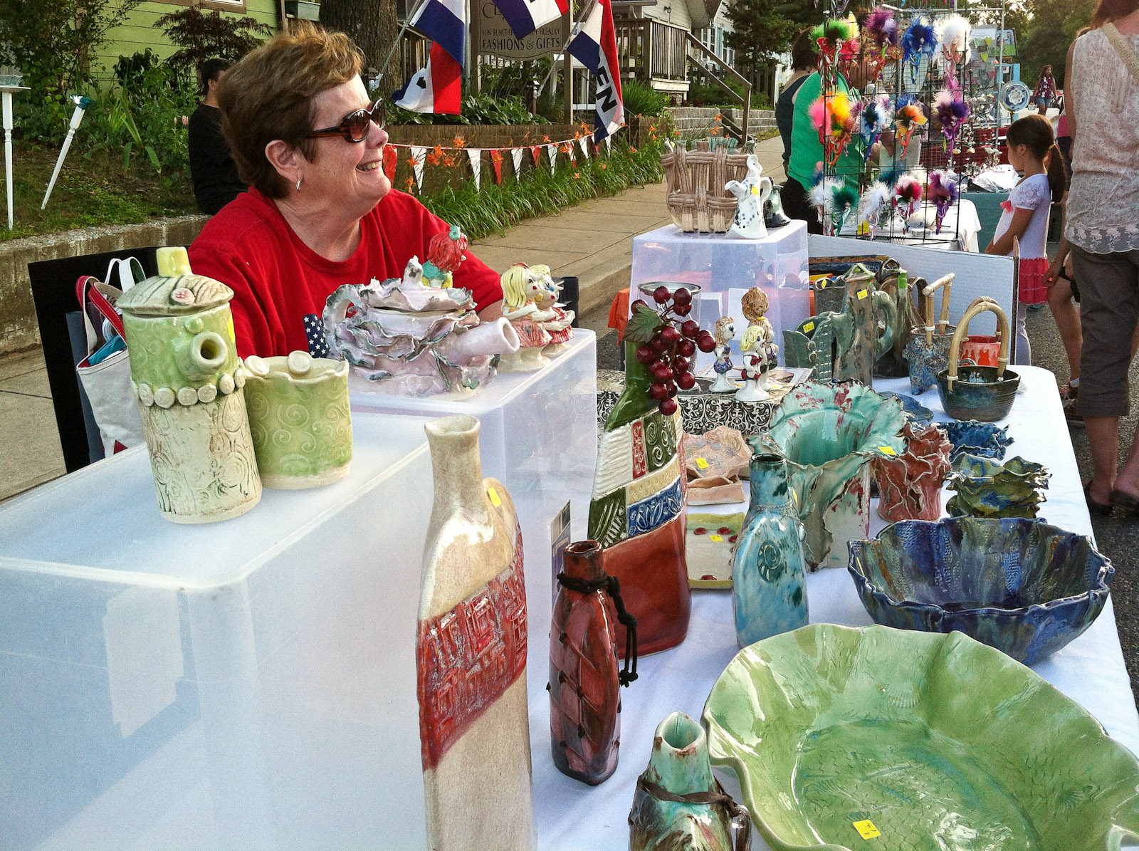 Shirley selling pottery-2
